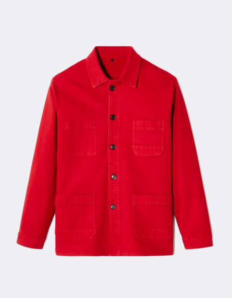 Veste d'atelier Muse Celio*. Rouge, 49 € sur ateliernicolasouchenir.com
