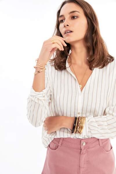 Balzac Paris : Chemise Lola écrue à rayures