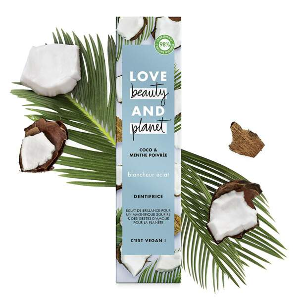 Dentifrice à la noix de coco et menthe poivrée, Love Beauty and Planet, 4,99€