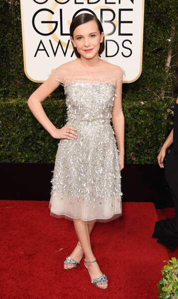Golden Globes 2017 : Millie Bobby Brown (Stranger Things) en Jenny Packham et Sophia Webster