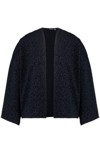 Kimono texturé imprimé léopard, Boohoo, 26 euros au lieu de 37 euros