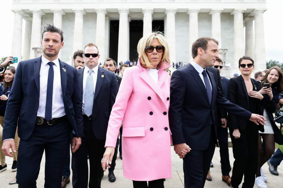 Brigitte et Emmanuel Macron visitent le Lincoln Memorial de Washington