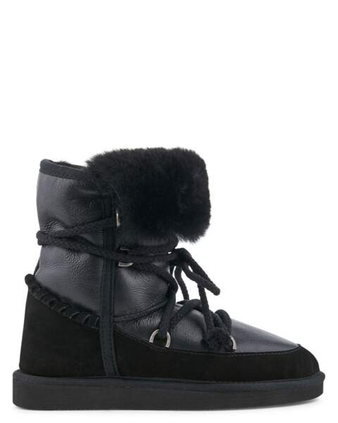 Boots en cuir, veau velours et peau retourné. 169 €, Minelli