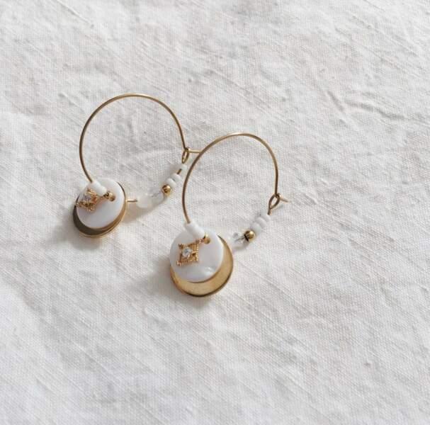 Boucles d'oreilles Halise nacre et zircon, Bordezac, 21€