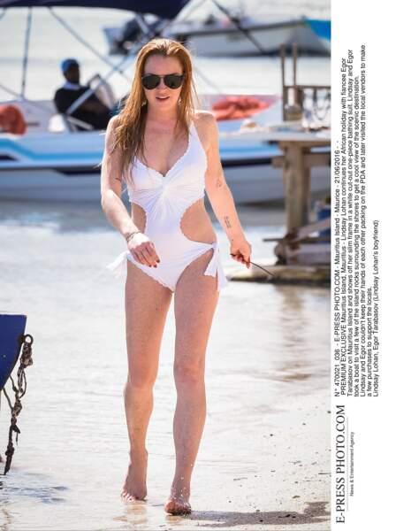 Les pires maillots des people en vacances : Lindsay Lohan à l'Île Maurice