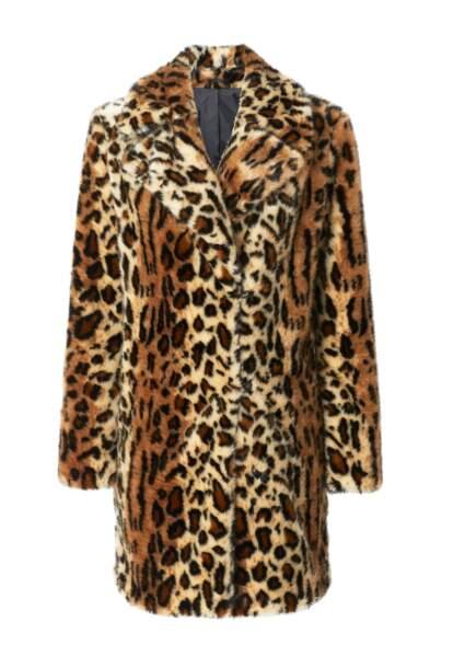 Manteau en fausse fourre imprimé léopard, Mango, 99,99€