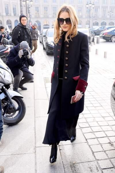 Fashion Week Haute Couture : Olivia Palermo canon en manteau militaire