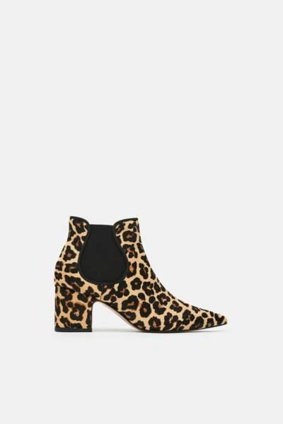 Bottines à talons léopard, Zara, 89,95€