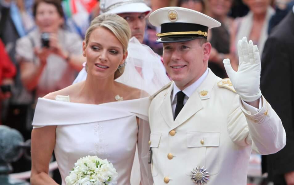 Le prince Albert et son épouse Charlène Wittstock