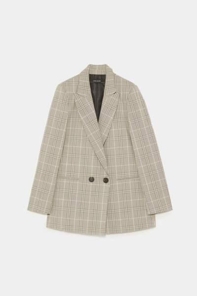 Veste croisée à carreaux, Zara, 49,95€