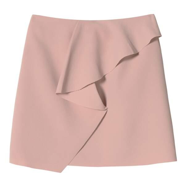 Caroline Receveur x Morgan : mini jupe asymétrique à volants, 65 euros