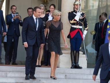 Brigitte Macron en petite robe noire scintillante à l'Elysée
