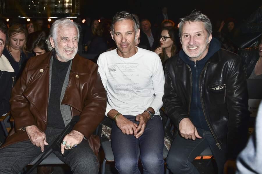 Jean-Paul, Paul Belmondo et Antoine de Caunes au Championnat du Monde WBA, à La Seine Musicale, le 10 mars 2018