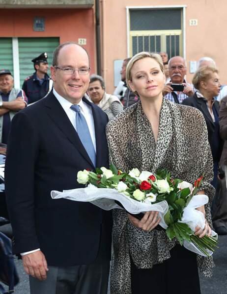 Albert et Charlène ont reçu des fleurs