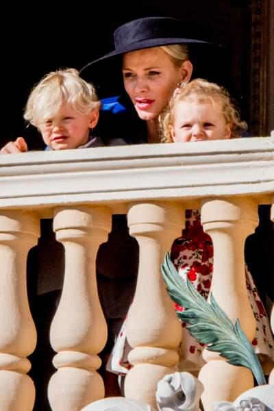 Fête nationale à Monaco - Charlène de Monaco avec ses jumeaux Jacques et Gabriella