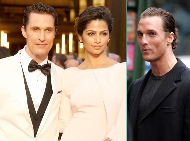 Matthew McConaughey aujourd'hui à 46 ans et à 34 ans, l'âge actuel de sa femme Camilla Alves