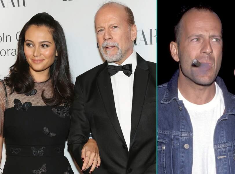 Bruce Willis aujourd'hui à 60 ans et à 37 ans, l'âge actuel de sa femme Emma Hemming