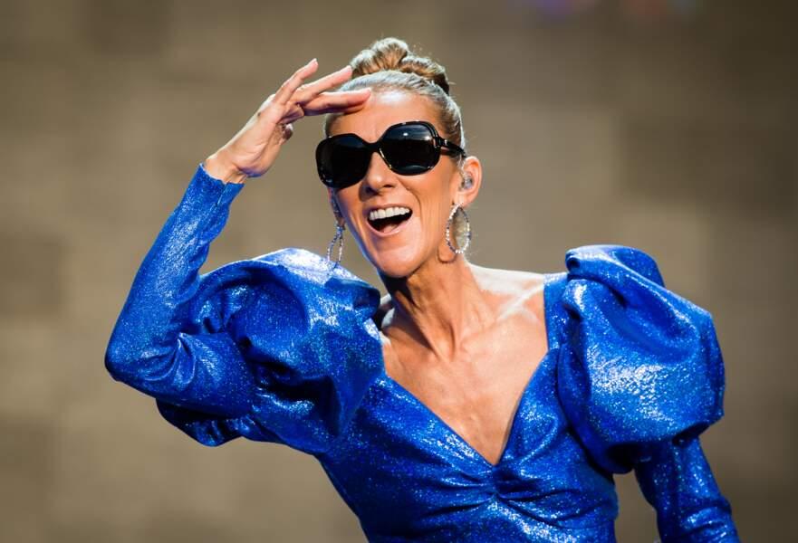 Céline Dion d'humeur rieuse lors du show organisé dans le cadre du festival Barclaycard British