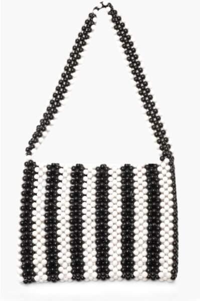 Sac en perles monochrome à rayures, Boohoo, 13€ au lieu de 53€