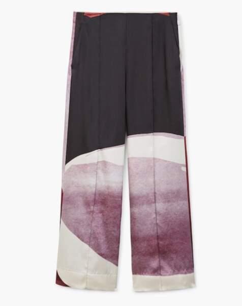Pantalon palazzo imprimé lilas, Mango, 79,99 euros