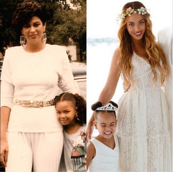 Beyoncé aux côtés de sa mère et de sa fille