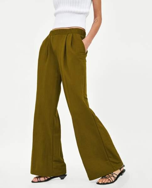 Pantalon large fluide kaki, Zara, 29,95 euros