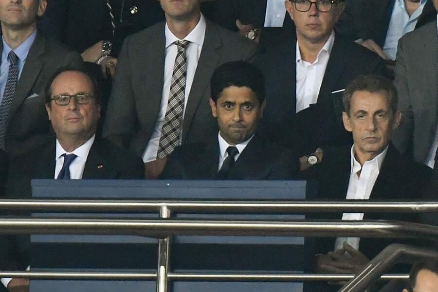 Les people au match PSG vs Bayern de Munich : François Hollande, Nasser Al-Khelaïfi et Nicolas Sarkozy
