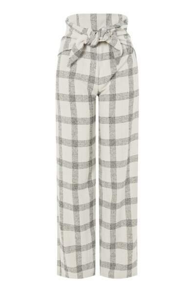Pantalon à carreaux avec liens sur le devant Love, Topshop, 50 euros