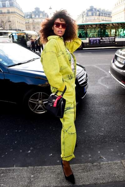 Tina Kunakey, au défilé Stella McCartney lors de la fashion week de Paris, le 5 mars 2018