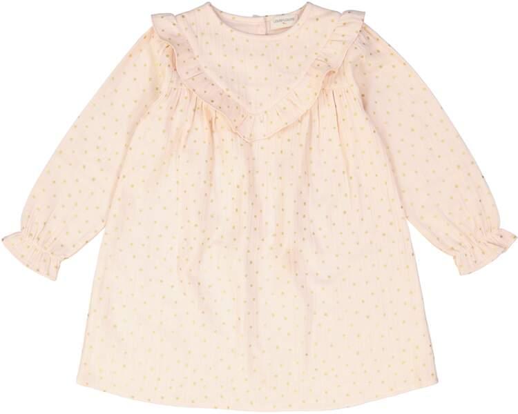 Robe rose à pois doré. En coton, du 3 mois au 2 ans, à partir de 75 €, Louis Louise