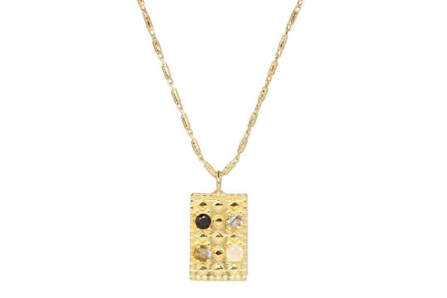 Collier Mahdi, Onyx Terxturé, rutile, labradorite et pierre de lune, Be Maad, 100€