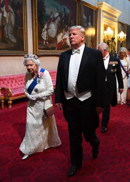 Elizabeth II et Donald Trump au banquet d'Etat organisé à Buckingham Palace