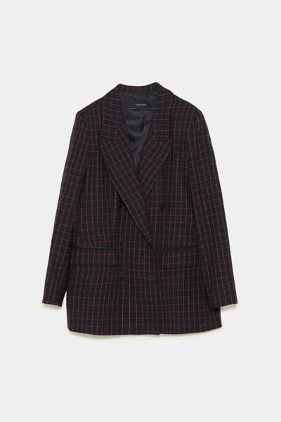Veste croisée à carreaux noirs et rouges, Zara, 69,95€