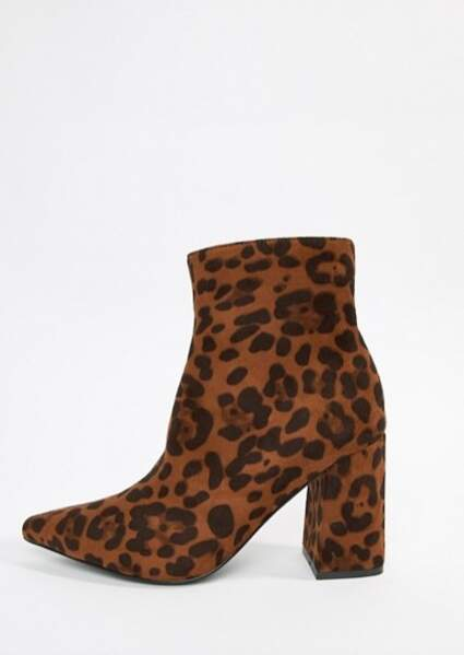 Bottines léopard, Public Desire sur Asos, actuellement à 23,49€