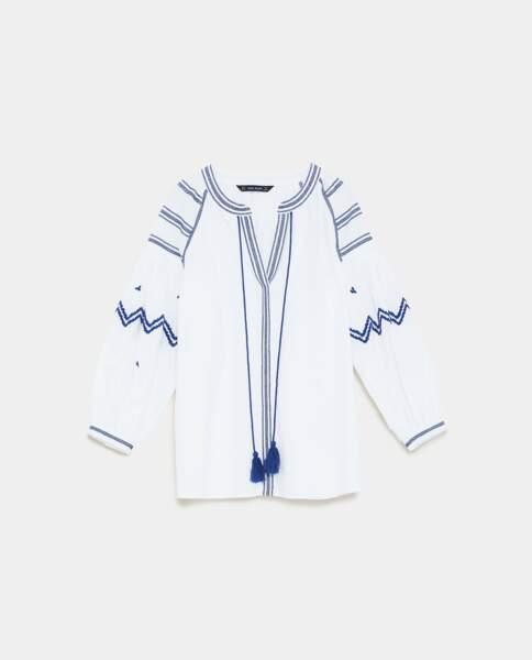 Blouse brodée, Zara, 39,95 euros