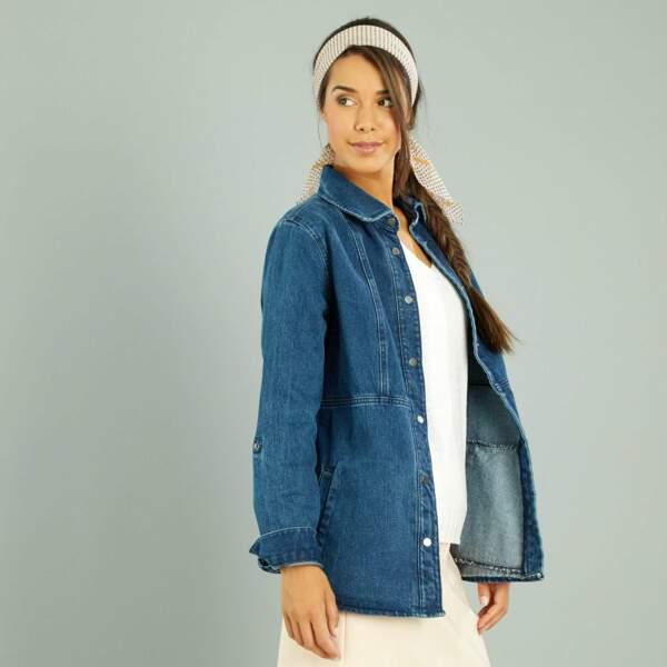 15 pièces modes à shopper chez Kiabi : Veste saharienne en jean oversize, 12 euros au lieu de 30 euros
