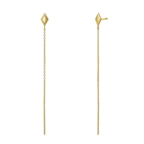 Boucles d'oreilles losanges chaîne or, Aristocrazy, 79€