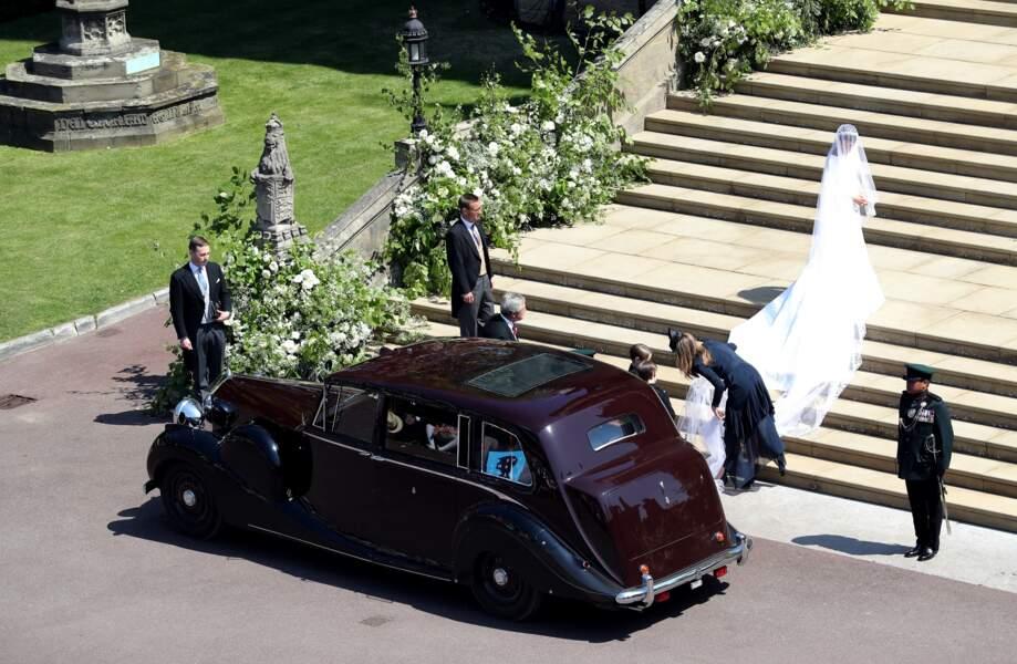 Meghan Markle dans sa robe de mariée