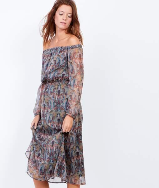 Etam padma robe épaules denudées à imprimés cachemires 59,99 euros