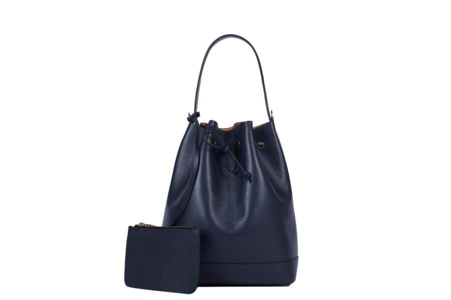 Léo et Violette : Le Violette, cuir grain bleu, 350 euros