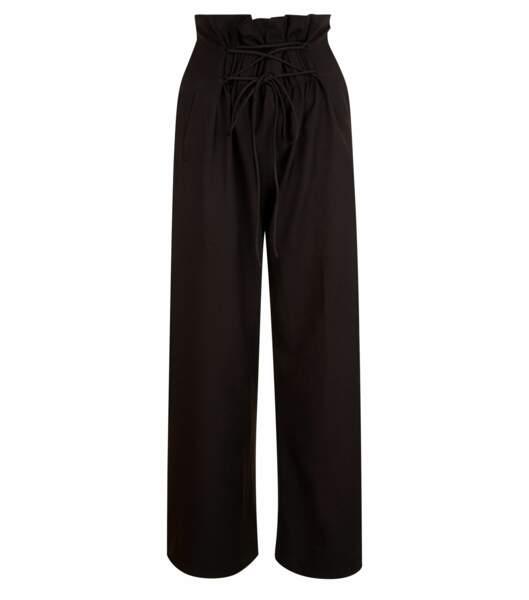Pantalon noir large avec plis à la taille et à nouer, 24,99 euros
