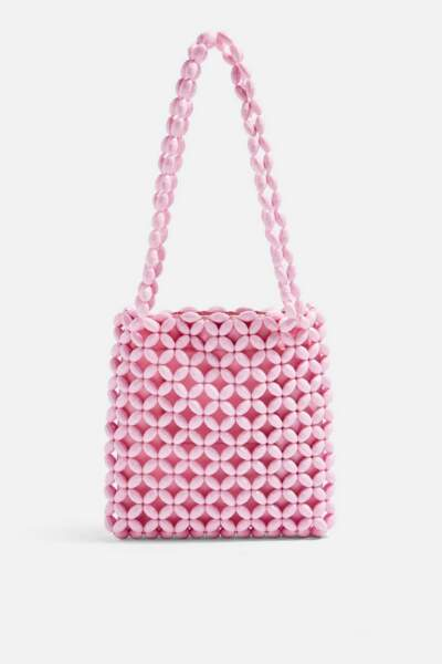 Sac cabas rose orné de perles Saga, Topshop, 44€