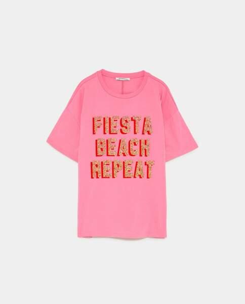 T-shirt à message, Zara, 15,95 euros