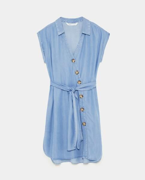 Robe chemise à boutons, Zara, 39,95 euros
