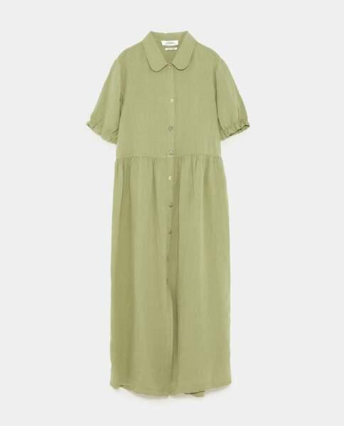 Robe en lin kaki, Zara, 49,95 euros