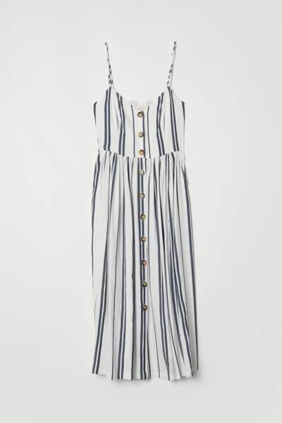 Robe rayée à boutons, H&M, 39,99 euros