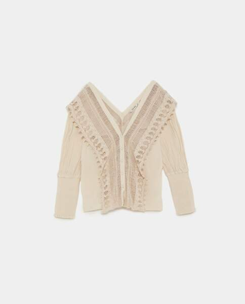 Blouse bi matière en crochet, Zara, 29,95 euros