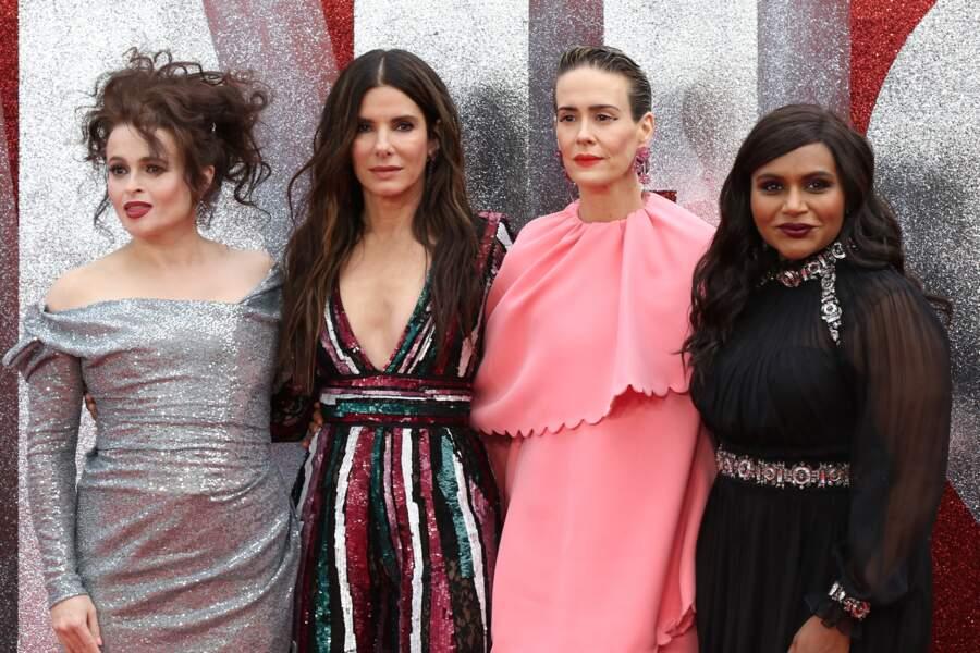 Helena Bonham Carter, Sandra Bullock, Sarah Paulson et Mindy Kaling à l'avant-première d'Ocean's 8 à Londres