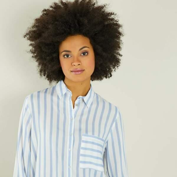 Chemise rayée, Kiabi, 12 euros au lieu de 15 euros