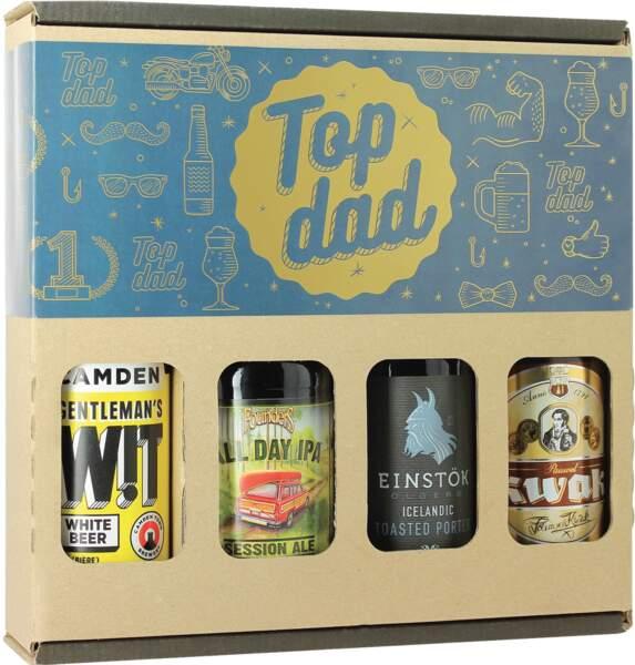 """Pack """"Top Dad"""". 4 bières, 14 €, Saveur Bière"""